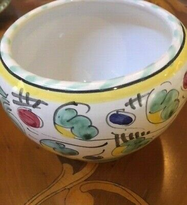 """VTG Deruta Pottery Made in Italy- Sm. Hand-Painted Bowl, Vase or Planter 3 1/2"""""""