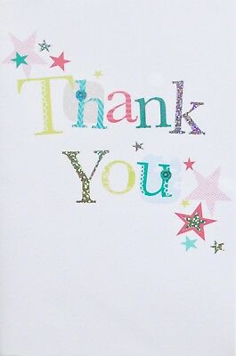 Thank you small greetings card, blank, suitable for male or female, stars theme