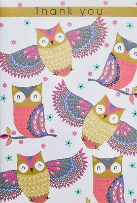 Thank you small greetings card, blank, owls theme, suitable for male or female