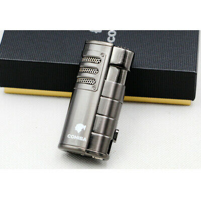 Cohiba Metal Gray Cigar Cigarette 3 Torch Jet Flame Lighter With Punch