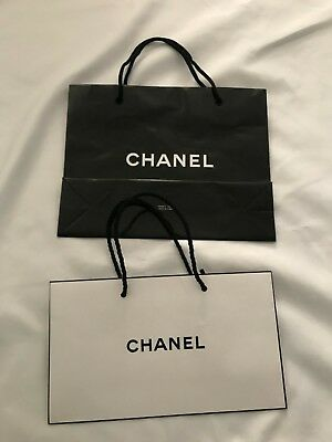 """ec42054a8255 2X AUTHENTIC CHANEL White Paper Shopping/Gift Bags & Ribbons- 9.5"""" x ..."""