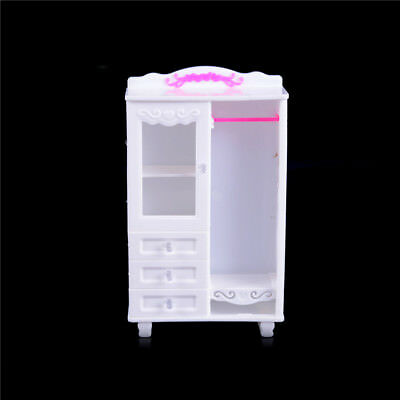 Furniture Plastic White Wardrobe Closet Doll Accessories Toys Gift J!