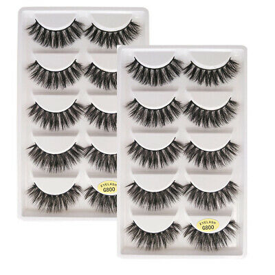 False Eyelashes 10 Pairs 3D Mink Natural Thick Fake Eyelashes Soft Eye Lashes AU