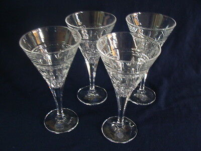"Royal Limited Crystal RLZ7 Czech Crystal, 4 Water Wine Goblets 8"" New W/Sticker"