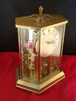 """Vintage Quartz KUNDO Brass Clock with Etched Glass Mirror Dome 10""""H Works well!"""