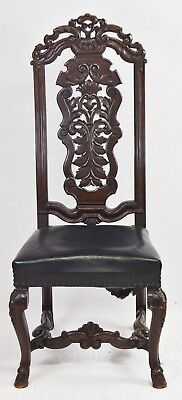William & Mary Oak Hall Chair with Blue Leather 18th Century Williamsburg Style