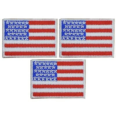 Mini American Flag Patch - United States of America USA (3-Pack, Small, Iron on)
