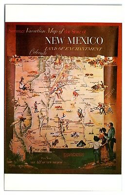 1966 New Mexico Land of Enchantment Map Postcard