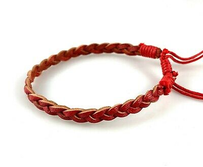 Red Leather w Waxed Cotton Bracelet / Wristband Anklet / Mens Bracelet Womens