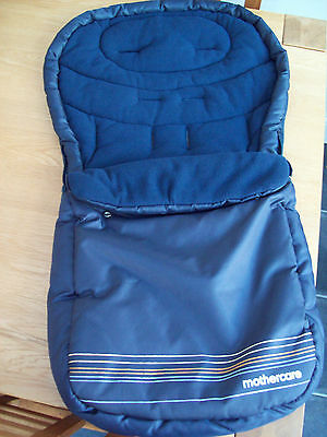 Mothercare Navy Blue Dark Grey Candy Stripe All Weather Universal  Footmuff Vgc
