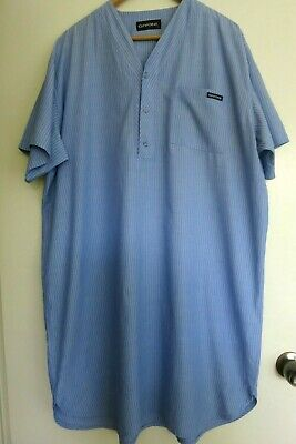 Mens Givoni quality cotton nightshirt, front opening, blue, size L, gd condition