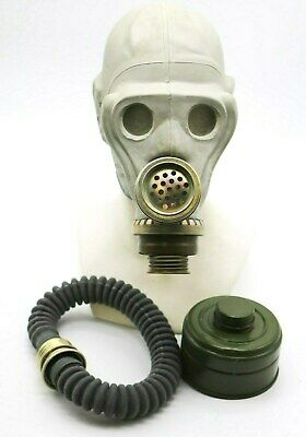 ShMS Authentic Soviet Russian grey  DIRTY Genuine Vintage USSR GAS MASK+HOSE