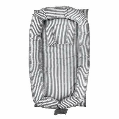 Abreeze Baby Bassinet for Bed -Grey Striped Baby Lounger - Breathable
