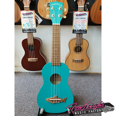 Kala Makala Shark Soprano Ukulele with Aquila Strings and Bag in Blue