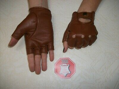 Brown  Leather Fingerless Gloves Size  6.5, 7, 7.5, 8, 8.5,9,9.5,10