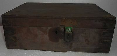 1900s India Antique Handmade Wooden Cash Box with Key Lock  X110