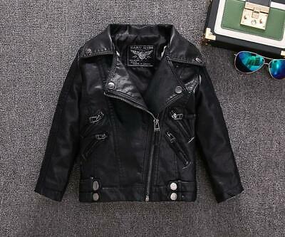 Kids Faux Leather Bike Jacket Boy/Girl Leather Jacket Size 1-12 Years Deluxe
