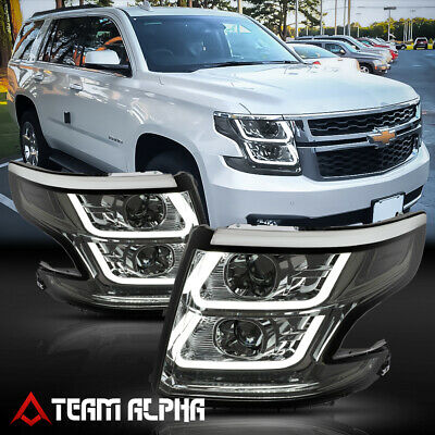 Fits 2015-2020 Suburban/Tahoe <LED U-BAR> Smoke/Clear Corner Projector Headlight