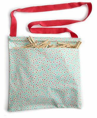 Vintage Kitchen Oil Cloth Peg Bag Ditsy Floral Print w/ 50 Wooden Pegs Included
