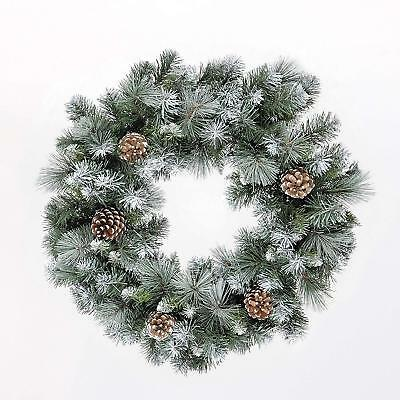 Traditional Christmas Frosted Glacier Xmas Wreath with Pine Cone Decoration