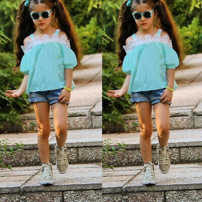 Kids Girls Short Sleeve T-shirt Top+Denim Shorts Boutique Outfits Holiday Summer