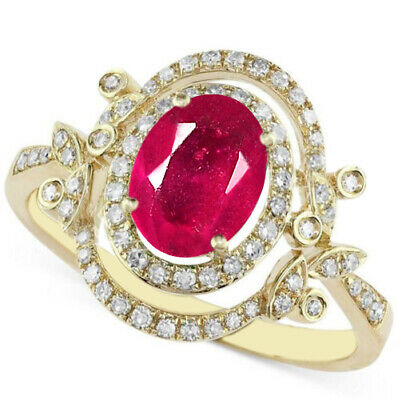 Real 14KT Yellow Gold 2.50Ct Natural Burmese Ruby EGL Certified Diamond Ring