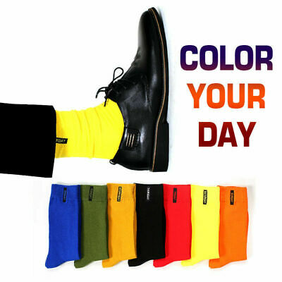 3Pairs Men's Fashion Solid Colorful Socks Soft Cotton Casual Crew Socks Gift