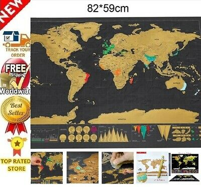 Deluxe Scratch Off Erase World Maps 6Types White/Black Personalized Travel Gifts