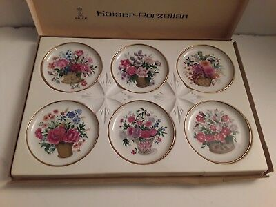 "Kaiser Porcelaine 6 Floral Plates 4"" (W Germany) New"