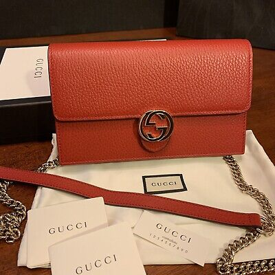 01b4faa9ede2 NEW GUCCI RED Leather Wallet Purse With Removable Shoulder Chain ...