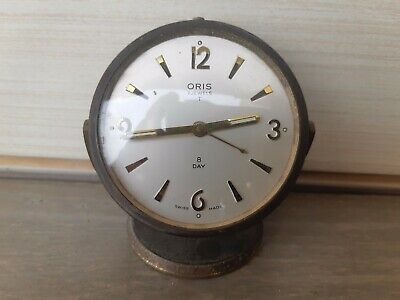 Vintage 60s' Swiss made Ring a Bell Clock Alarm Oris 7 Jewel, 8 day Bronze Brass