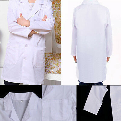 White Kids Lab Doctor Scientist Coat School Fancy Dress Costume Child Boys Girls
