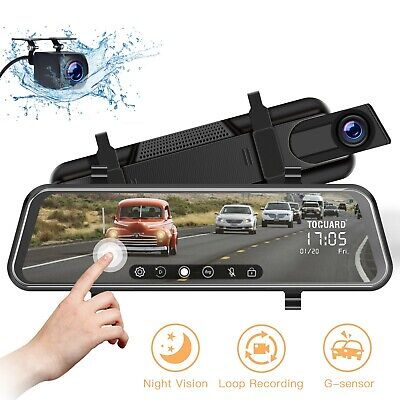"TOGUARD Backup Camera 10"" Mirror Dash Cam Dual Touch Screen Stream Night Vision"