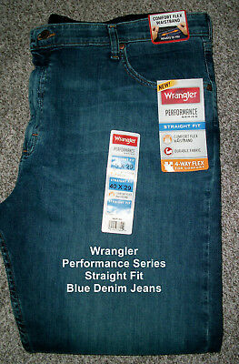 32112cbb Big Mens WRANGLER PERFORMANCE SERIES Straight Fit Blue Denim Jeans NWT  46x32 $60
