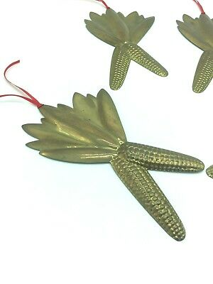 Set Of 4 Brass Metal Cornhusk Wall Hanging Kitschy Kitchen Decor Vintage