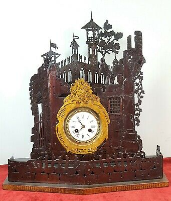 Table Clock. Carved Wood. Painted By Hand. Spain. End Of Xix Century.