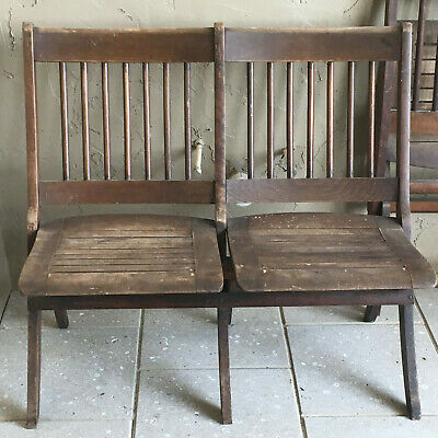 Antique Double Slat Folding Chairs Two Sets