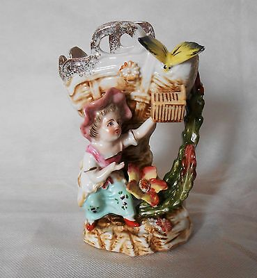 Vintage Antique Camille Nardout Bisque Porcelain Figurine Child with Butterfly