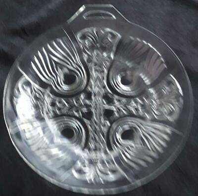 Beautiful Vintage Pressed Glass Footed Divided Dish - Clear Glass - GORGEOUS