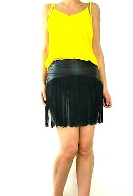 e79744d3c Fleur East by Lipsy Faux Leather Skirt Fringed Size 10 Black Mini Tube  Bodycon