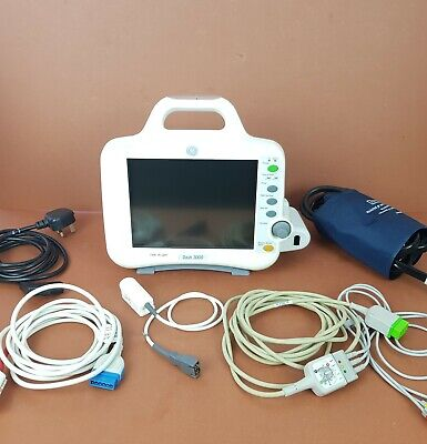 Patient Monitor GE Dash 3000 with Masimo SpO2,NIBP,ECG,CO2,BP,Temp,Capnoflex