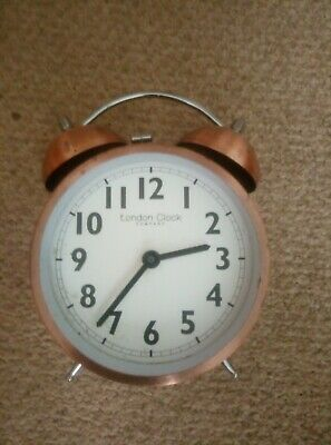 London Clock twin bell alarm clock - serviced but needs new fr. glass/face cover