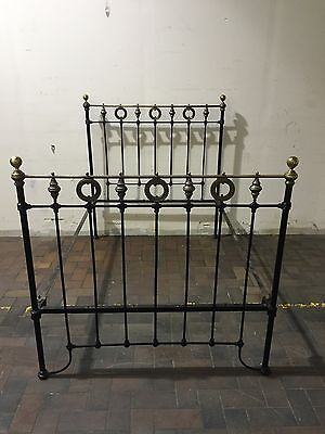 Antique Cast Iron & Brass Double Bed Elegant Slumber vintage chic