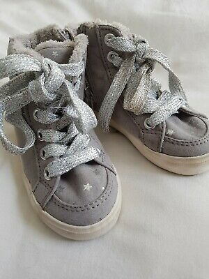 Baby Girls Next grey silver star trainers in great condition size 3