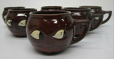 Set of 6 Vtg McCoy USA Pottery Brown Black Smiley Face Mugs Cups Man in the Moon