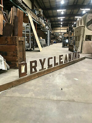 11.5 FEET LONG Wood Advertising Sign DRY CLEANING Salvaged 1800s Dairy Farm Ohio