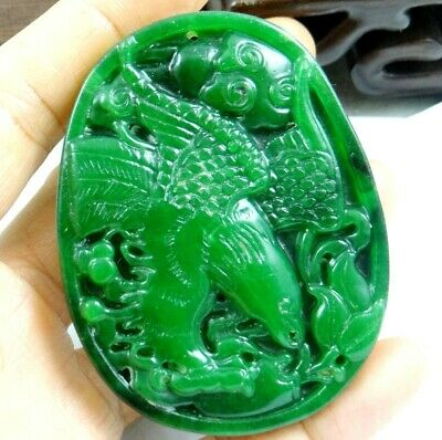China Old Genuine Jadeite Emerald Jade carved lucky Pendant eagle T71
