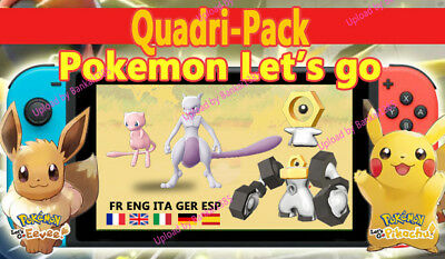 Quadri-pack pokemon Let's Go Available shiny/alola Custom/ lvl/6IV/AVs