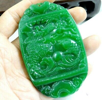 China Old Genuine Jadeite Emerald Jade carved lucky Pendant Dragon fish T66
