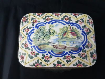 antique of 19th century hand painted continental porcelain box